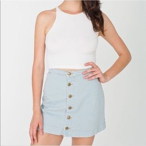 American Apparel Denim Button Front Skirt